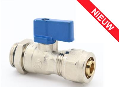 """Collector Mini Bolkraan 1/2"""" M x 16/2 Blauw (Incl Koppeling) Met O-ring en tegenmoer"""