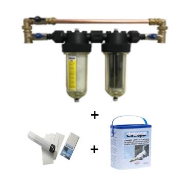 """Cintropur NW 25 DUO 3/4""""  RegenWaterfilter met bypass en extra koolstof- en filterpatronen"""
