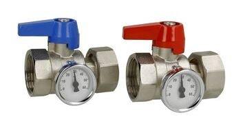 """Set Bolkranen 1"""" met thermometer voor RVS Collector met buitendraad"""