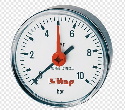 """Manometer AXIAAL (achter) 1/4""""  0-10 bar"""