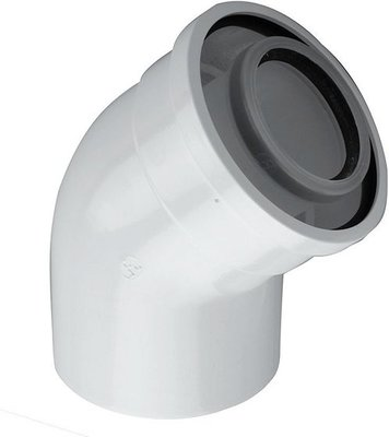 BOSCH Concentrische Bocht 45° 80-125 mm Wit (PP/Staal) - 7738112593