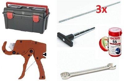 Gereedschapset Alpex Set 4 In Koffer (Knipschaar prof+Kalibreerder zwarte greep+3xBuigveer+Sleutel 24-27+Loctite 160m)