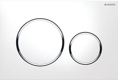 Geberit Sigma 20 Drukplaat 2-Toets Wit / Chrome Ringen