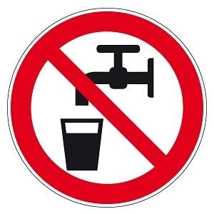 Pictogram Zelfklevend Geen Drinkwater 15 mm (vel met 18 kleine pictogrammen)